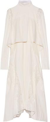 Chloé Layered Lace-paneled Pleated Crepe De Chine Dress