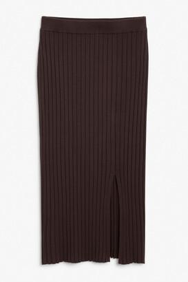 Monki Ribbed midi skirt