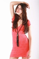 Nightcap Clothing Cap Sleeve Deep V Victorian Dress in Coral