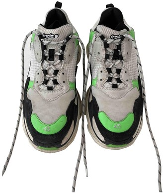 Balenciaga Triple S Green Cloth Trainers
