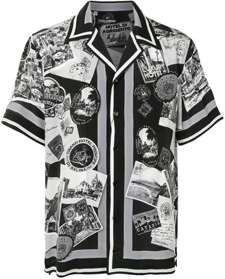 Dolce & Gabbana Postcard Print Short-Sleeve Shirt