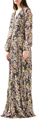 ML Monique Lhuillier Floral V-Neck Blouson-Sleeve Maxi Dress