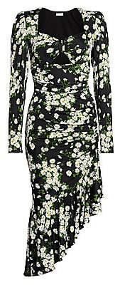 Michael Kors Women's Floral Ruched Midi Dress