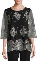 Caroline Rose Luxury Lace 3/4-Sleeve Tunic, Plus Size