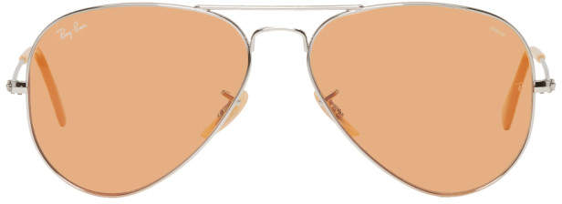 Ray-Ban Silver and Orange Pilot Aviator Sunglasses