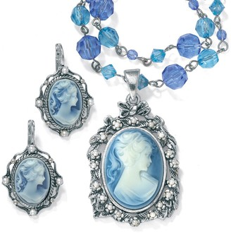PalmBeach Jewelry Simulated Pearl and Lucite Cameo Two-Piece Necklace and Earrings Set in Antiqued Silverton