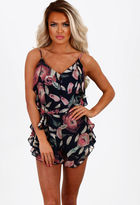 Pink Boutique Dark Lullaby Navy Multi Floral Chiffon Frill Playsuit