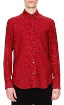Maison Margiela Dancing Ant-Print Long-Sleeve Sport Shirt, Red