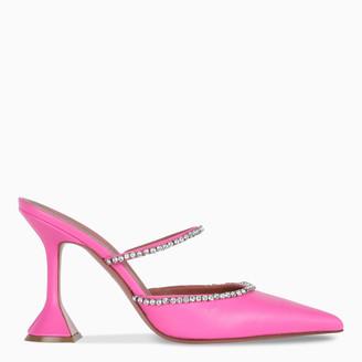 Amina Muaddi Pink and crystals Gilda Mule sandals