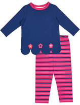 Florence Eiseman Scallop-Hem Top w/ Striped Leggings, Size 2-6X