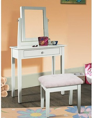 Powell Youth Vanity, Bench and Mirror Set with Jewelry Storage, White