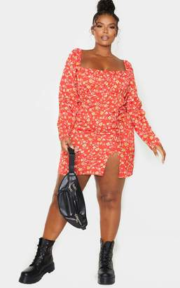 PrettyLittleThing Plus Red Ditsy Floral Bow Detail Side Split Bodycon Dress