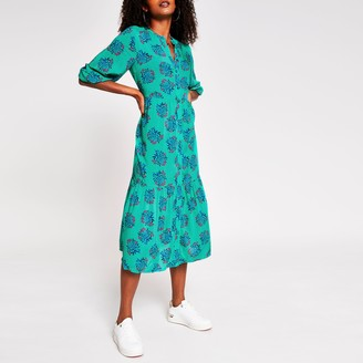 River Island Womens Green floral button down dress