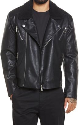 Eleven Paris Elmut Faux Fur Collar Faux Leather Biker Jacket