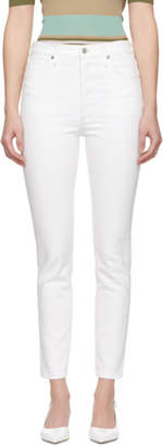 Citizens of Humanity White High-Rise Slim Ankle Olivia Jeans