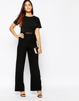 Warehouse Wide Leg Belted Detail Jumpsuit