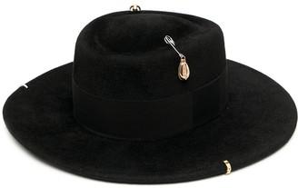 Ruslan Baginskiy Chain Strap Felt Canotier Hat
