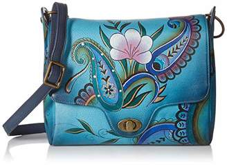 Anuschka Anna by Women's Genuine Leather Flap-Over Medium Shoulder Bag | Hand Painted Original Artwork | Chic & Stylish Organizer | Denim Paisley