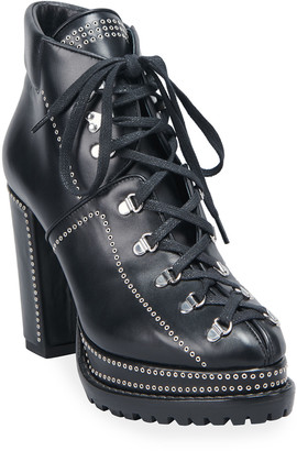 Alaia 80mm Lug-Sole Lace-Up Booties