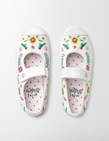 Boden Embroidered Canvas Mary Janes