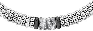 Lagos Sterling Silver Black Caviar Diamond & Ceramic Station Necklace, 16