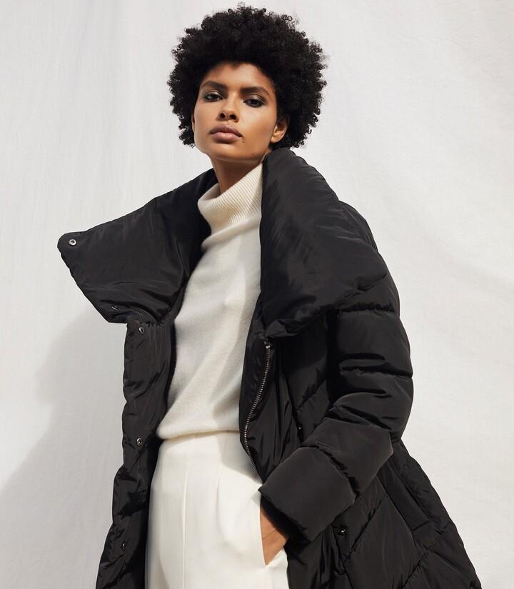 Reiss Lora - Longline Puffer Coat in Black