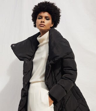 Reiss Lora - Longline Puffer Coat in Black