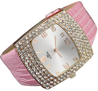 Sanwood Women's Square Rhinestones Faux Leather Wrist Watch (Pink)