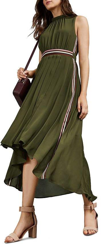 Ted Baker Leaah Striped High/Low Midi Dress
