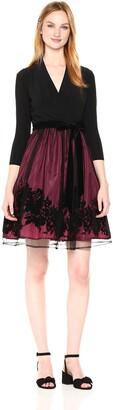 Chetta B Women's 3/4 Sleeve Burnout Fit and Flare Dress Black/Garnet 4