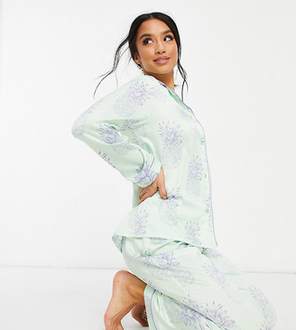 Chelsea Peers Petite pineapple print shirt and trousers pyjama set in mint green