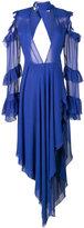 Off-White V neck ruffle sleeve dress