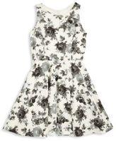 Un Deux Trois Girl's Back Cutout Floral Dress
