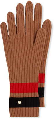 Burberry Graphic Stripe Knit Wool-Blend Gloves