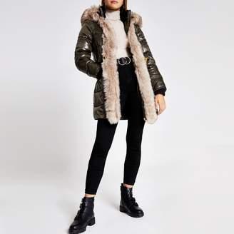 River Island Womens Khaki hooded padded fur trim belted coat