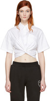 Alexander Wang White Twist Short Sleeve Cropped Shirt