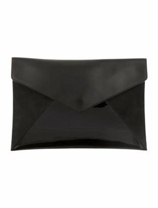 Delvaux Leather Envelope Clutch Black