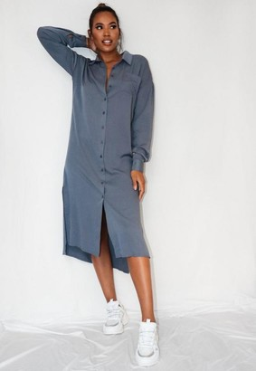 Missguided Blue Utility Shirt Dress