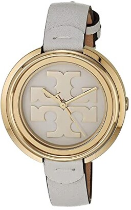 Tory Burch Miller Leather Watch (White) Watches
