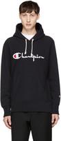 Champion Reverse Weave Black Logo Hoodie