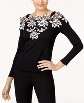 INC International Concepts Petite Lace Cold-Shoulder Sweater, Created for Macy's