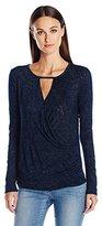 Velvet by Graham & Spencer Women's Textured Knit Keyhole Top