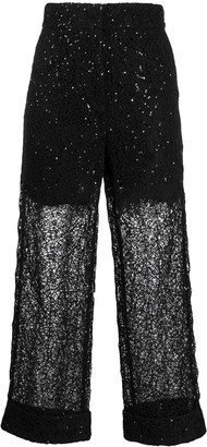 Self-Portrait Sequinned Lace Trousers