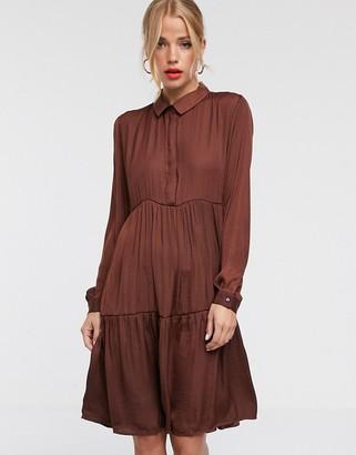 JDY tiered mini shirt dress-Brown