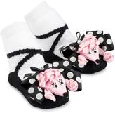 Mud Pie Black & Pink Ribbon Poodle Socks - Infant