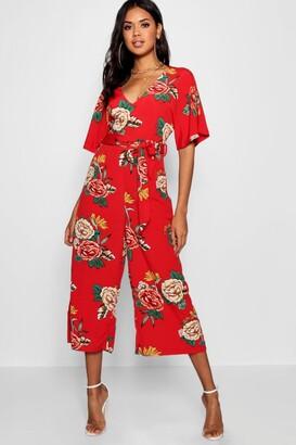 boohoo Large Floral Capped Sleeve Jumpsuit