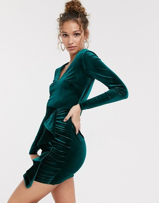 Miss Selfridge velvet dress with ruffle detail in green