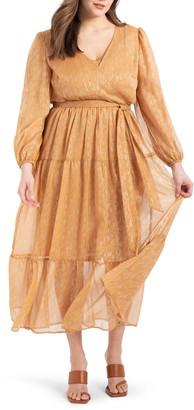 ELOQUII Metallic Tiered Long Sleeve Maxi Dress