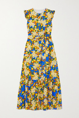 Borgo de Nor Gabrielle Belted Printed Cotton-poplin Midi Dress - Blue