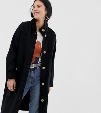 Monki midi lightweight coat with oversized pockets in black